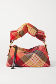 Dries Van Noten Pillow small tartan wool-blend flannel tote