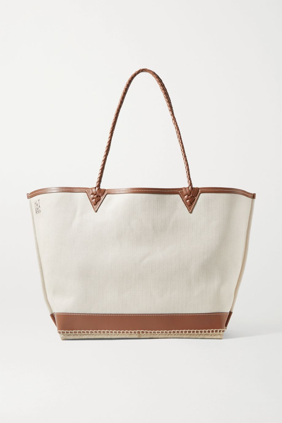 Altuzarra Espadrille large leather and jute-trimmed canvas tote