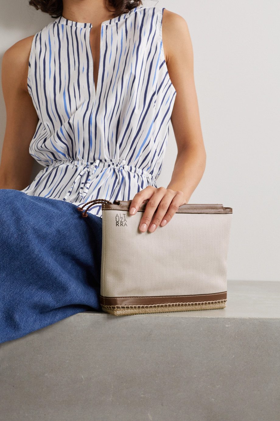 Altuzarra Espadrille leather and jute-trimmed canvas clutch