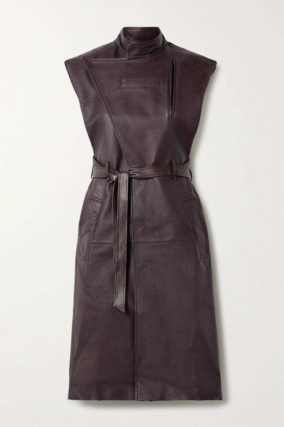 Situationist Belted leather trench coat