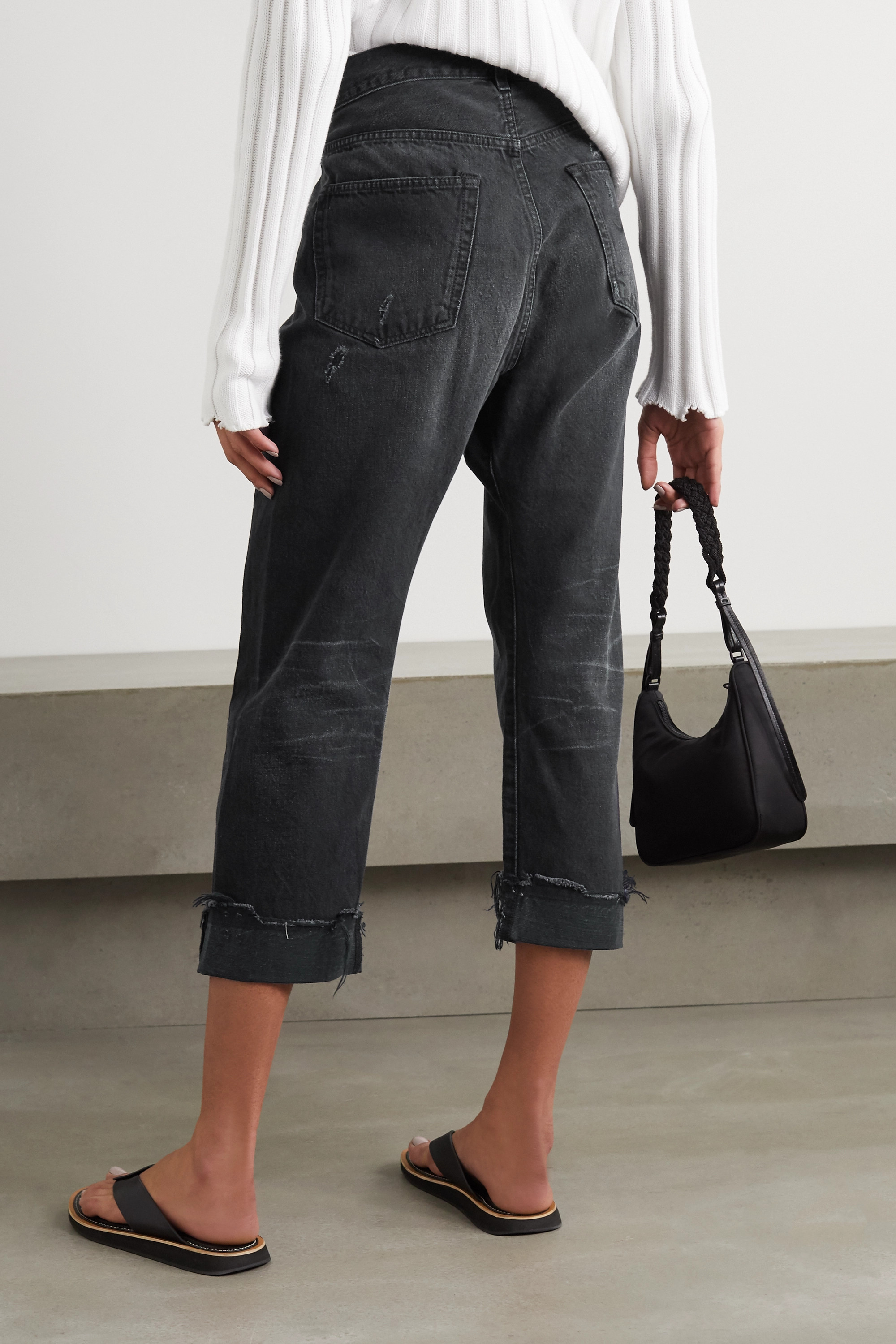 R13 Crossover asymmetric cropped distressed high-rise jeans