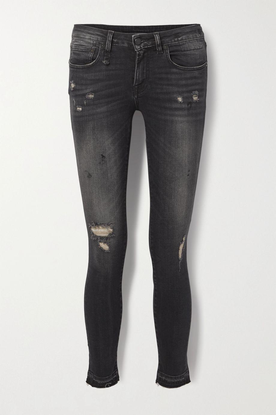 R13 Kate hoch sitzende Skinny Jeans in Distressed-Optik