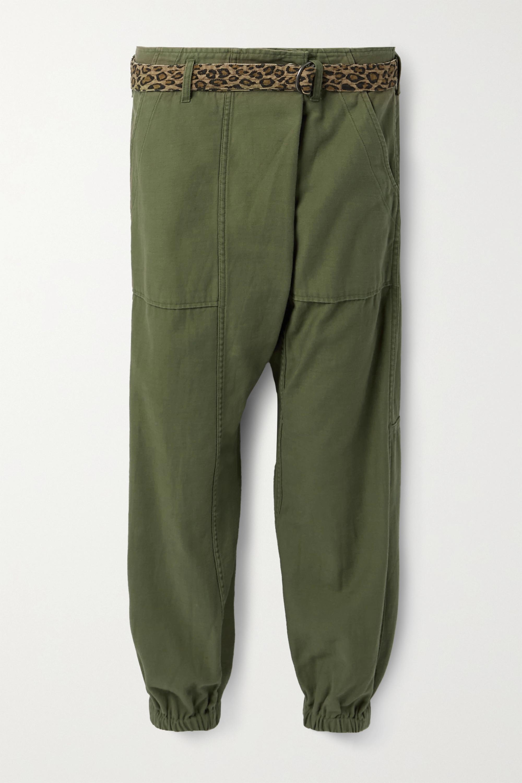 R13 Pantalon fuselé en coton à ceinture