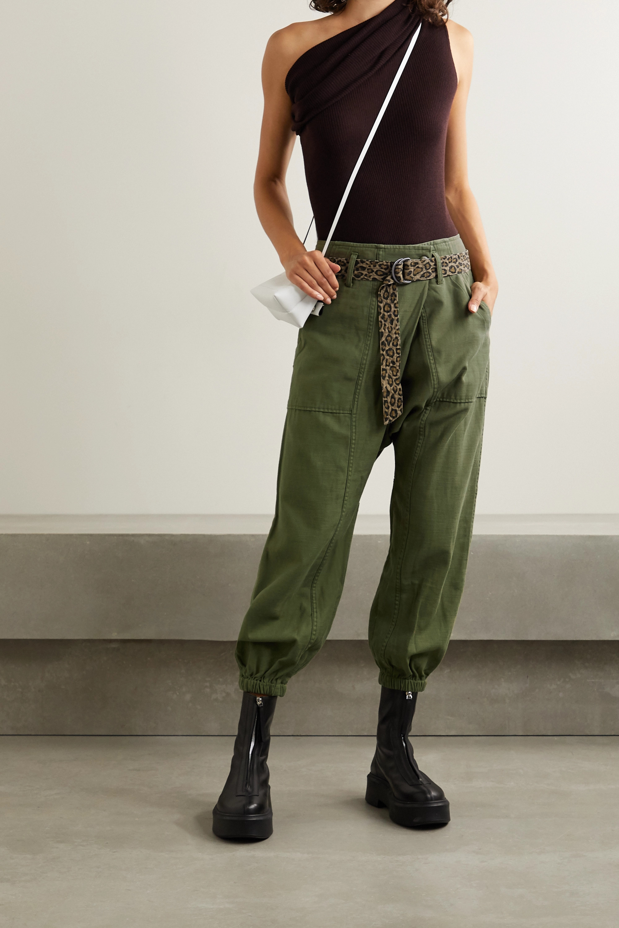 Army Green Belted Cotton Tapered Pants | R13