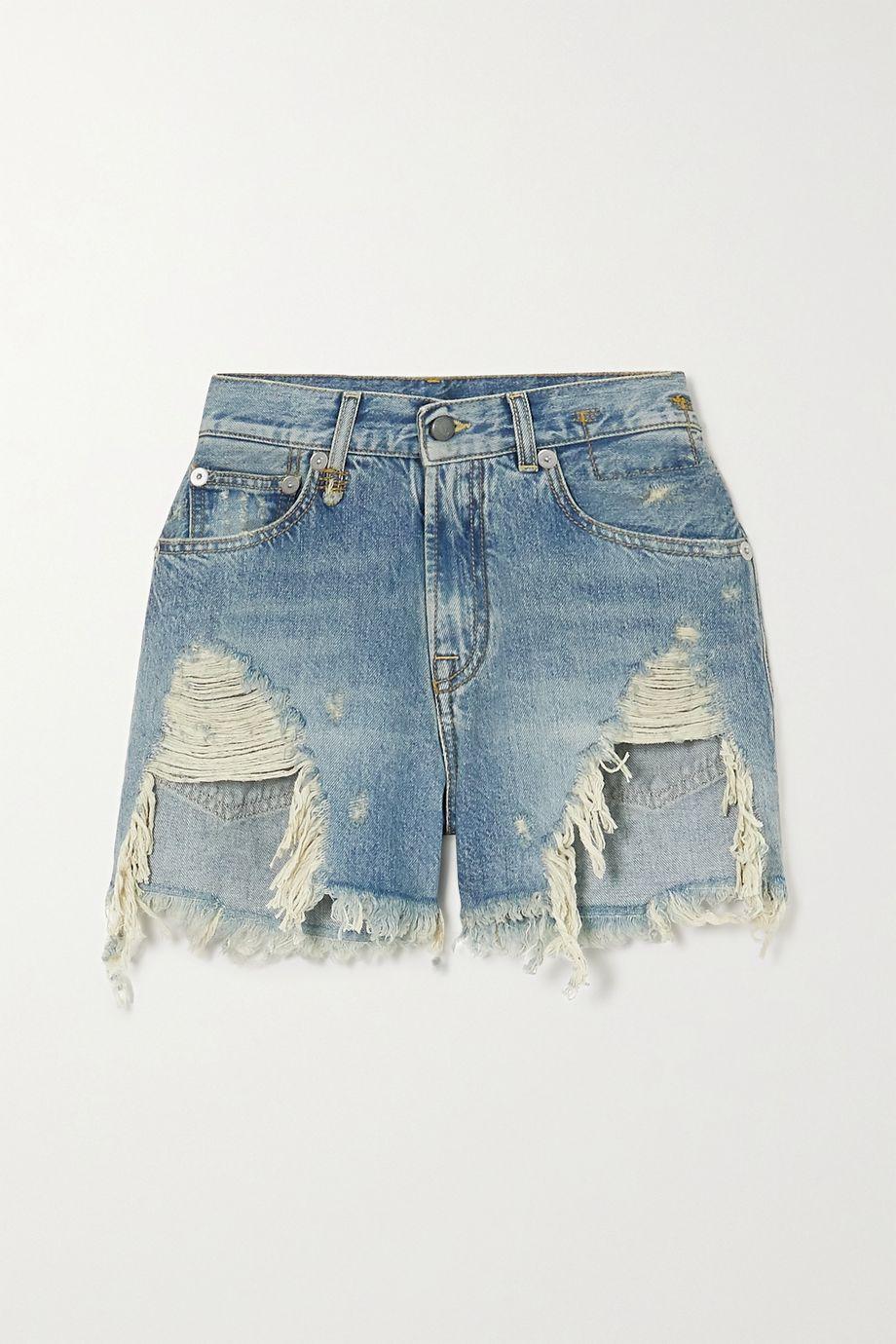 R13 仿旧牛仔短裤