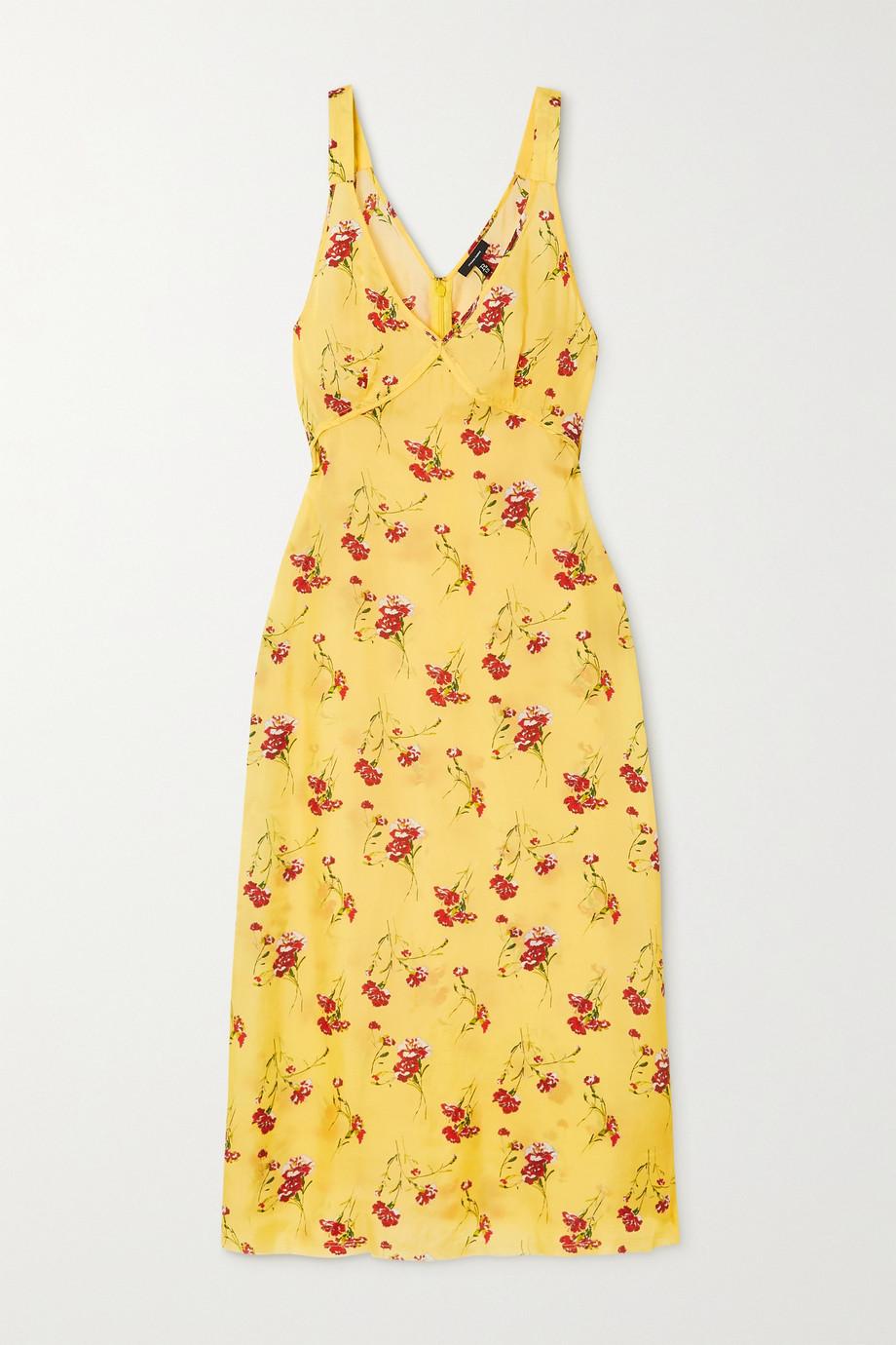 R13 Printed silk-trimmed satin midi dress