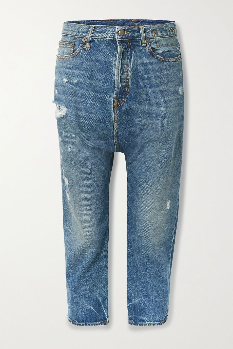 R13 Tailored Drop distressed low-rise boyfriend jeans