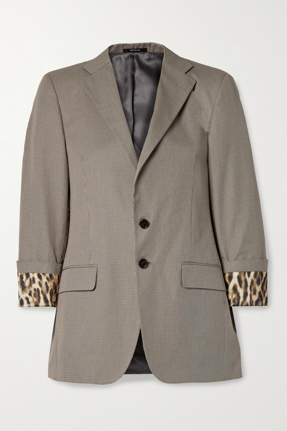 R13 Silk satin-trimmed houndstooth cotton blazer