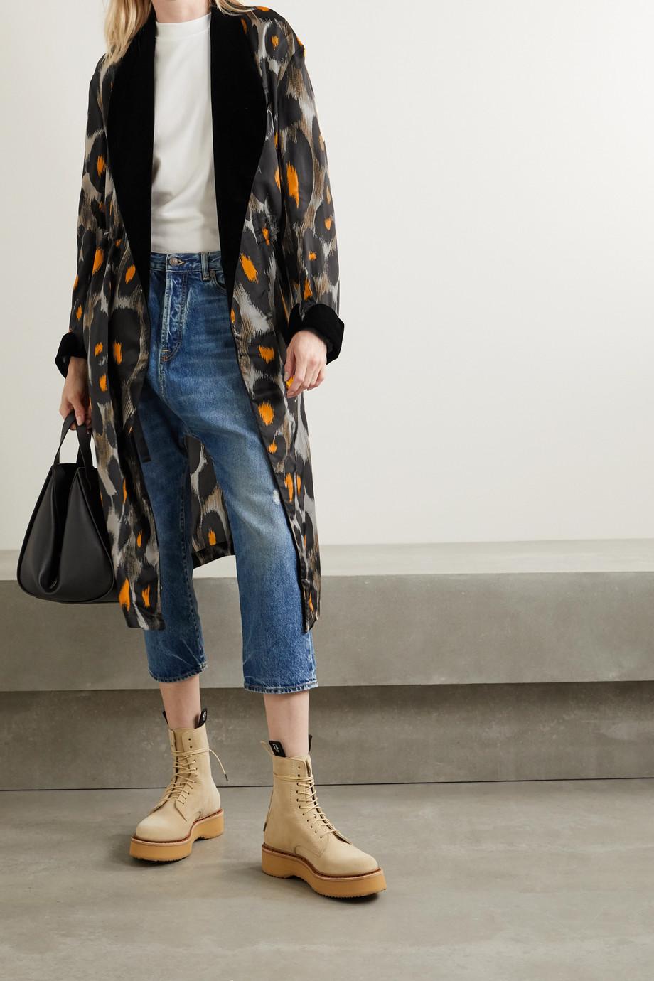 R13 Velvet-trimmed leopard-print cupro jacket