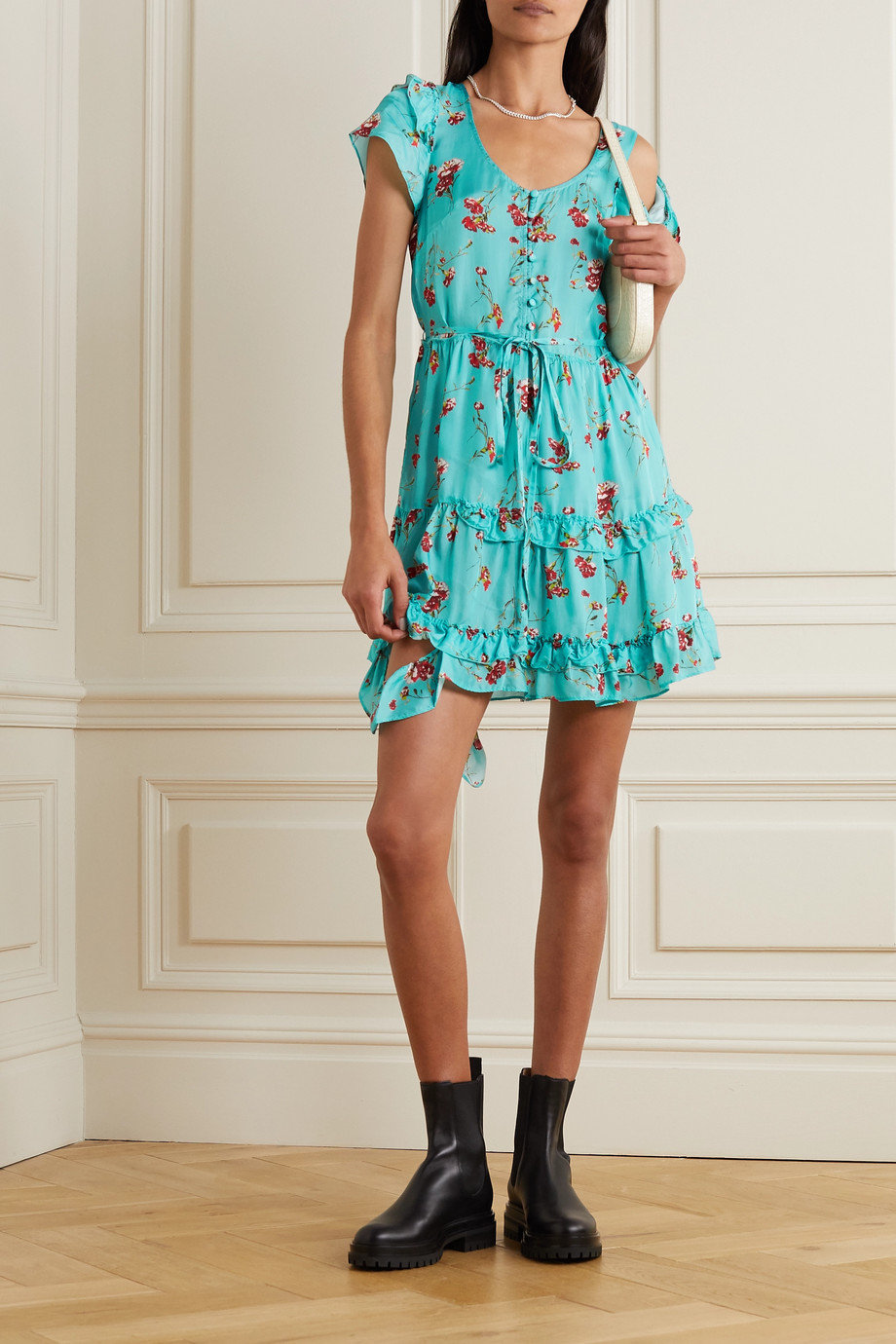R13 Cold-shoulder ruffled floral-print satin mini dress