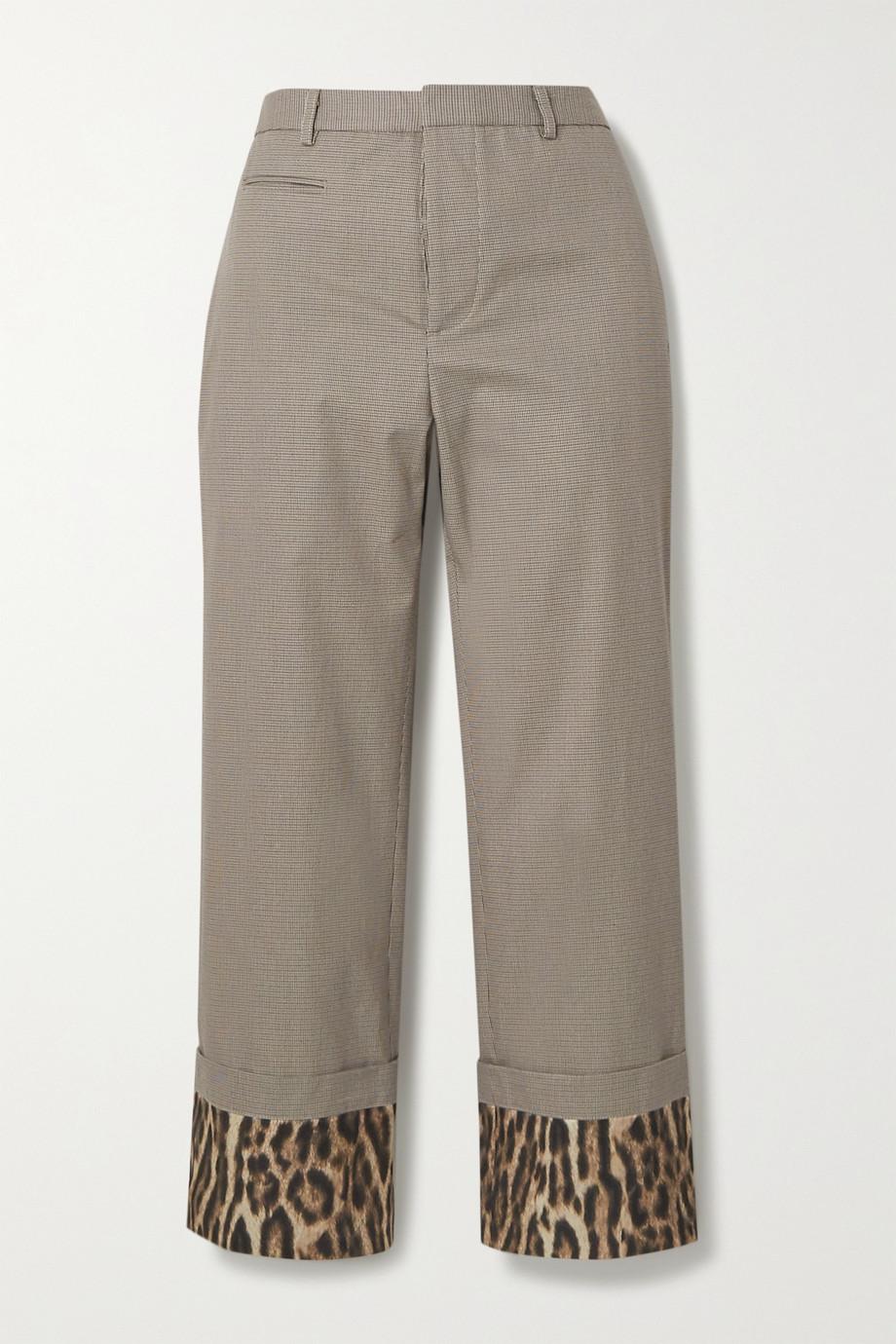 R13 Silk satin-trimmed houndstooth cotton straight-leg pants