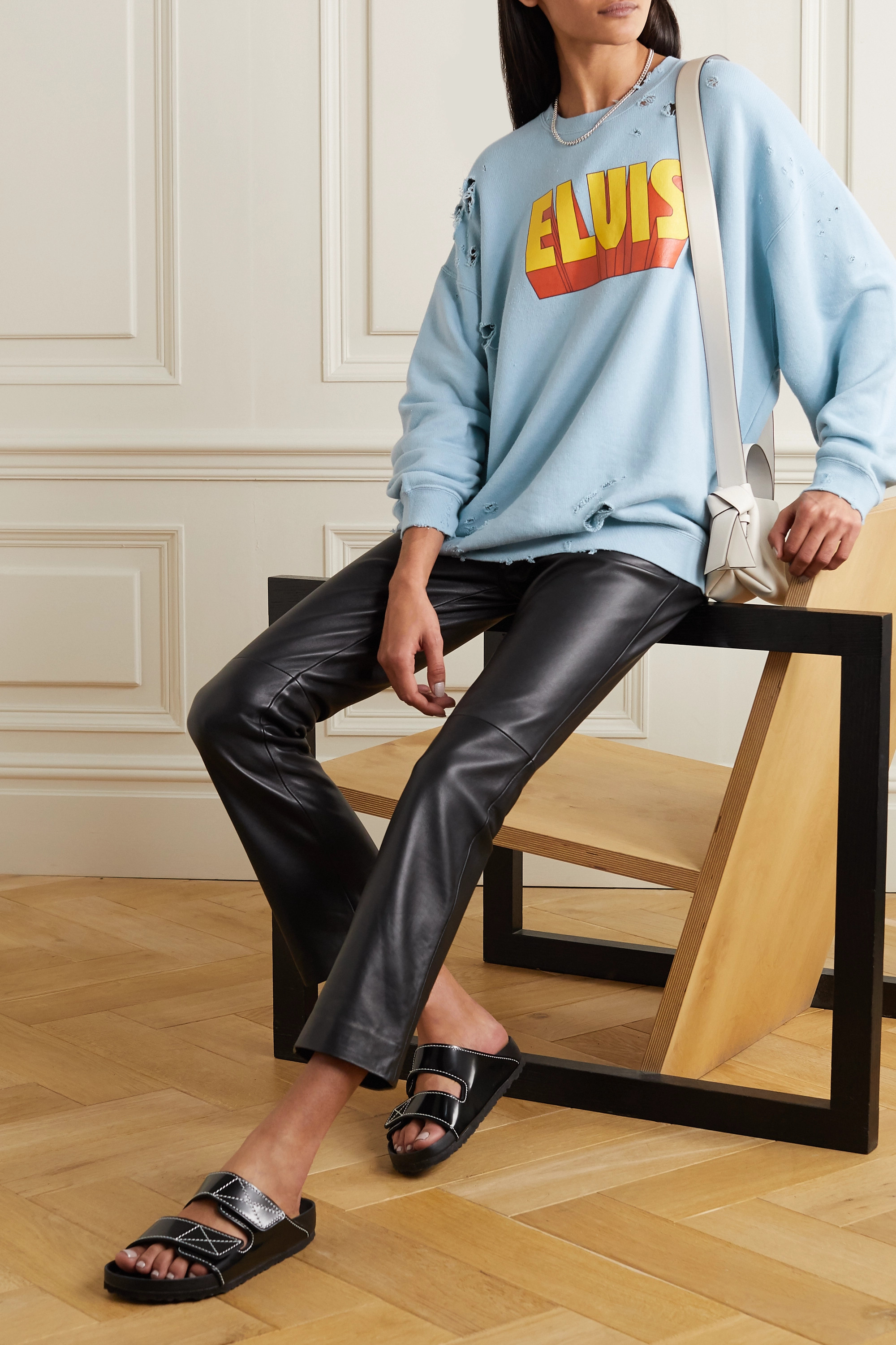R13 Elvis distressed printed cotton and Lyocell-blend sweatshirt