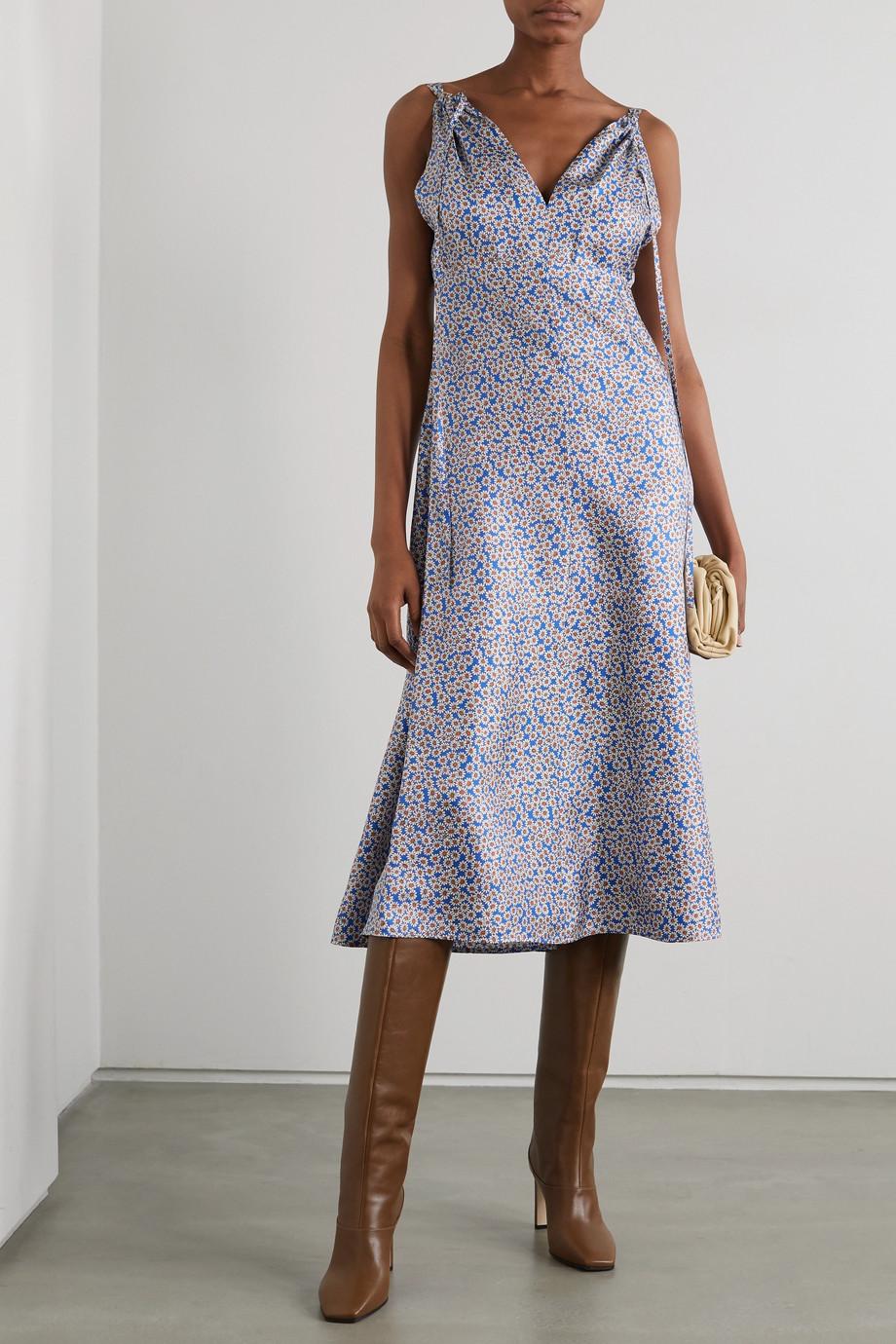 Victoria Beckham Floral-print silk-twill midi dress