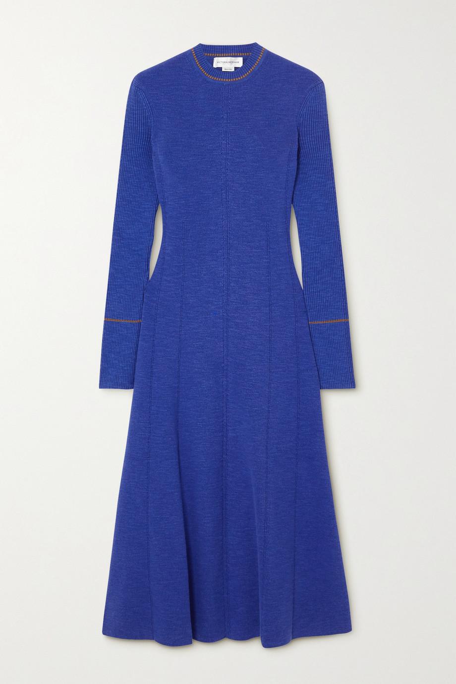 Victoria Beckham Ribbed cotton-blend midi dress