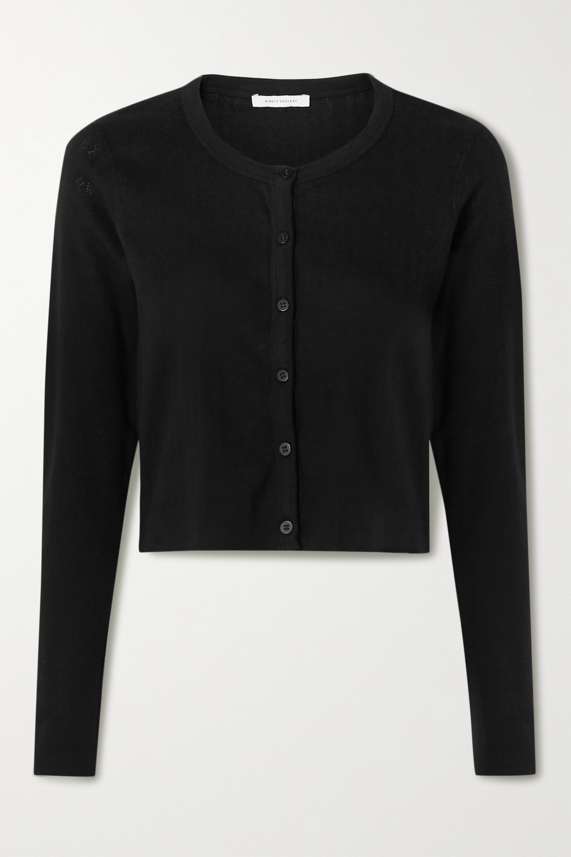 Ninety Percent 挑窿针织有机纯棉短款开襟衫