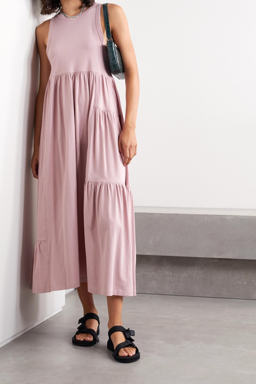 Antique Rose Mono Gathered Organic Cotton-jersey Maxi Dress | Ninety Percent