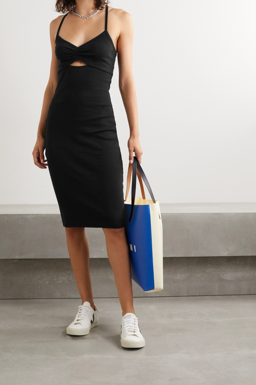 Ninety Percent 挖剪挑窿针织有机纯棉平纹布连衣裙