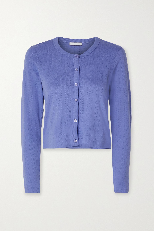 Purple Cropped Pointelle-knit Organic Cotton-jersey Cardigan | Ninety Percent