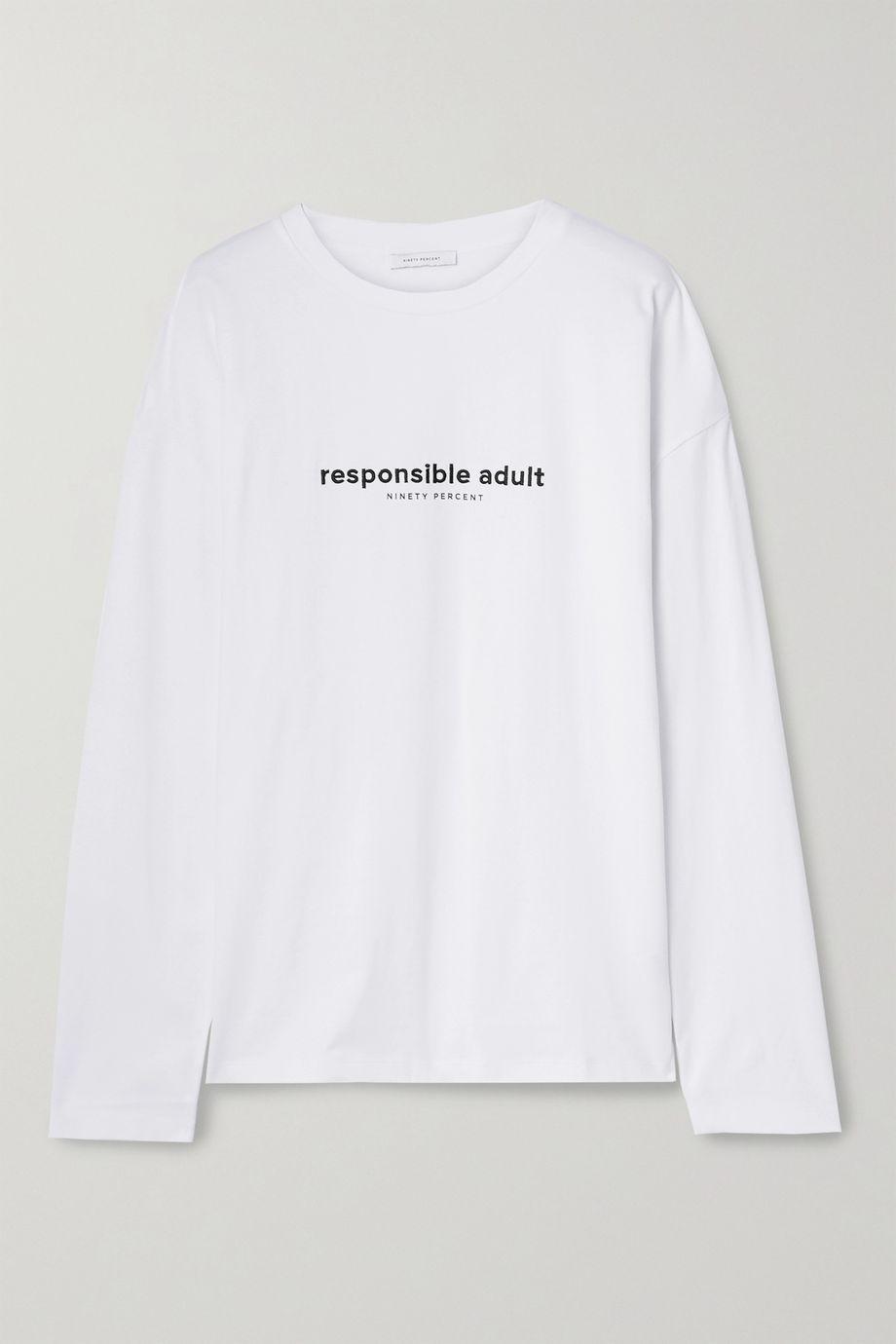 Ninety Percent Oversized embroidered organic cotton-jersey T-shirt