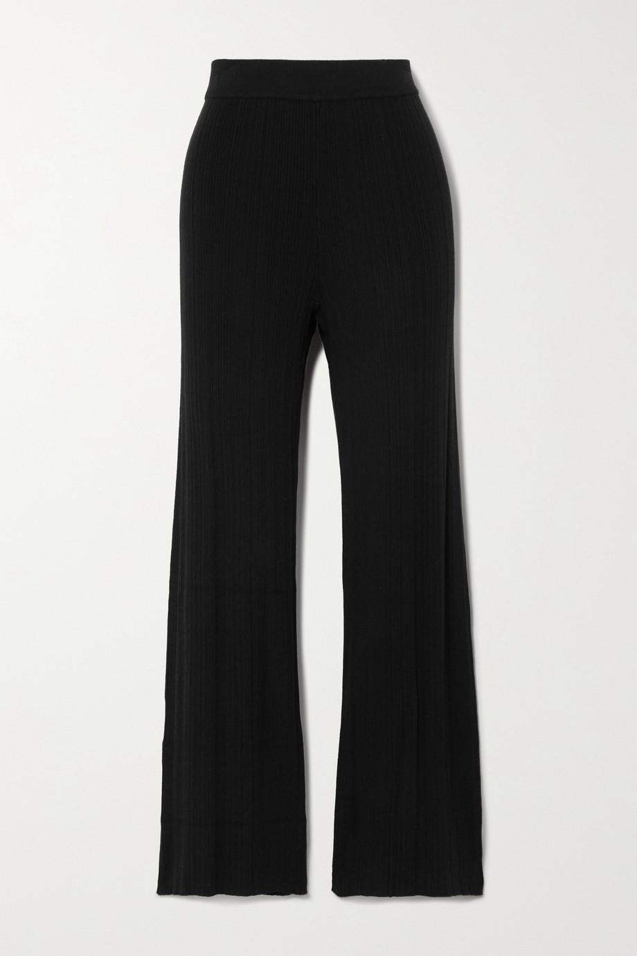 Ninety Percent Ribbed Tencel-blend straight-leg pants