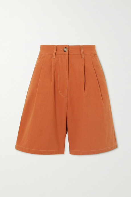 Orange Henry pleated cotton shorts | L.F.Markey pZrfub
