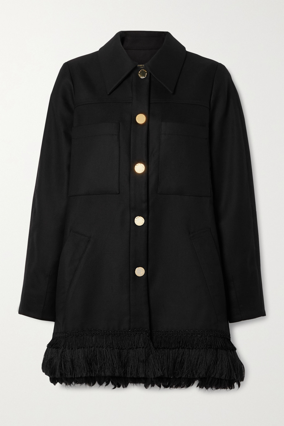 Mother of Pearl Fringed Tencel and organic cotton-blend coat