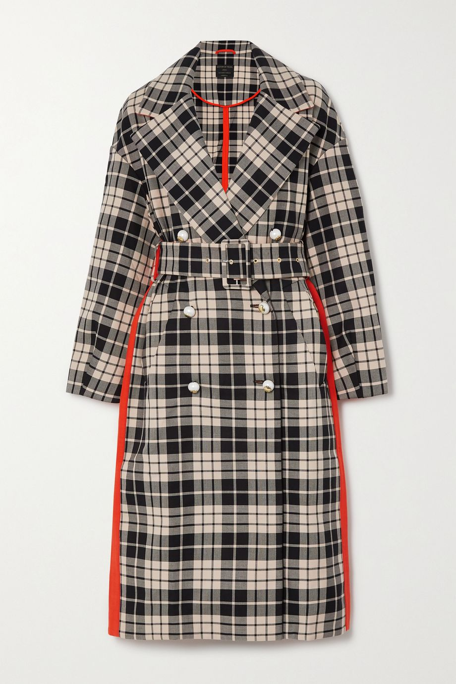 Mother of Pearl Belted double-breasted checked organic cotton-twill coat