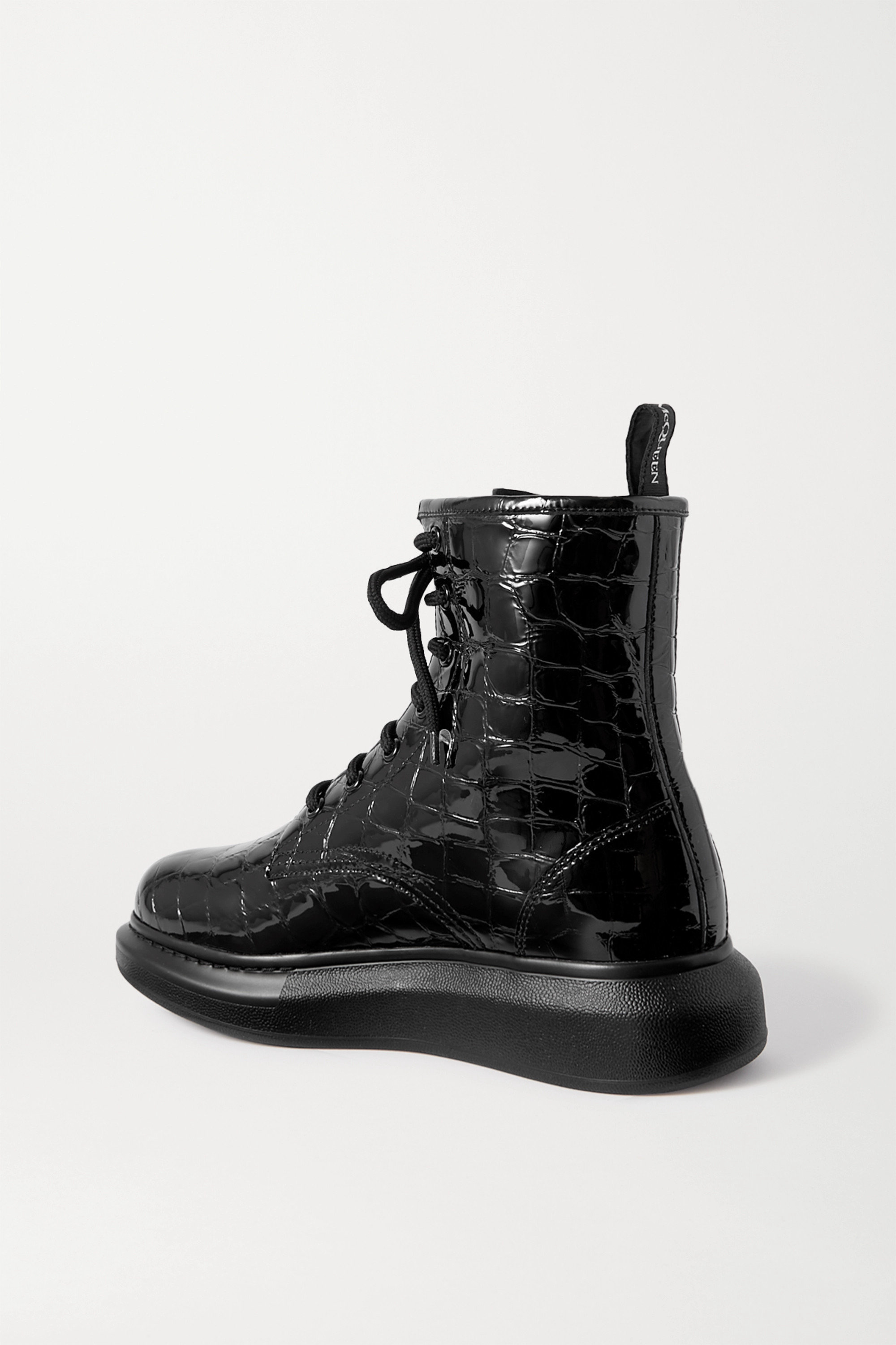 Black Croc-effect Patent-leather Exaggerated-sole Ankle Boots | Alexander Mcqueen