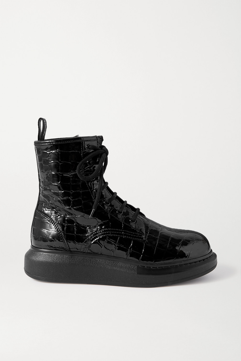 Alexander McQueen Croc-effect patent-leather exaggerated-sole ankle boots