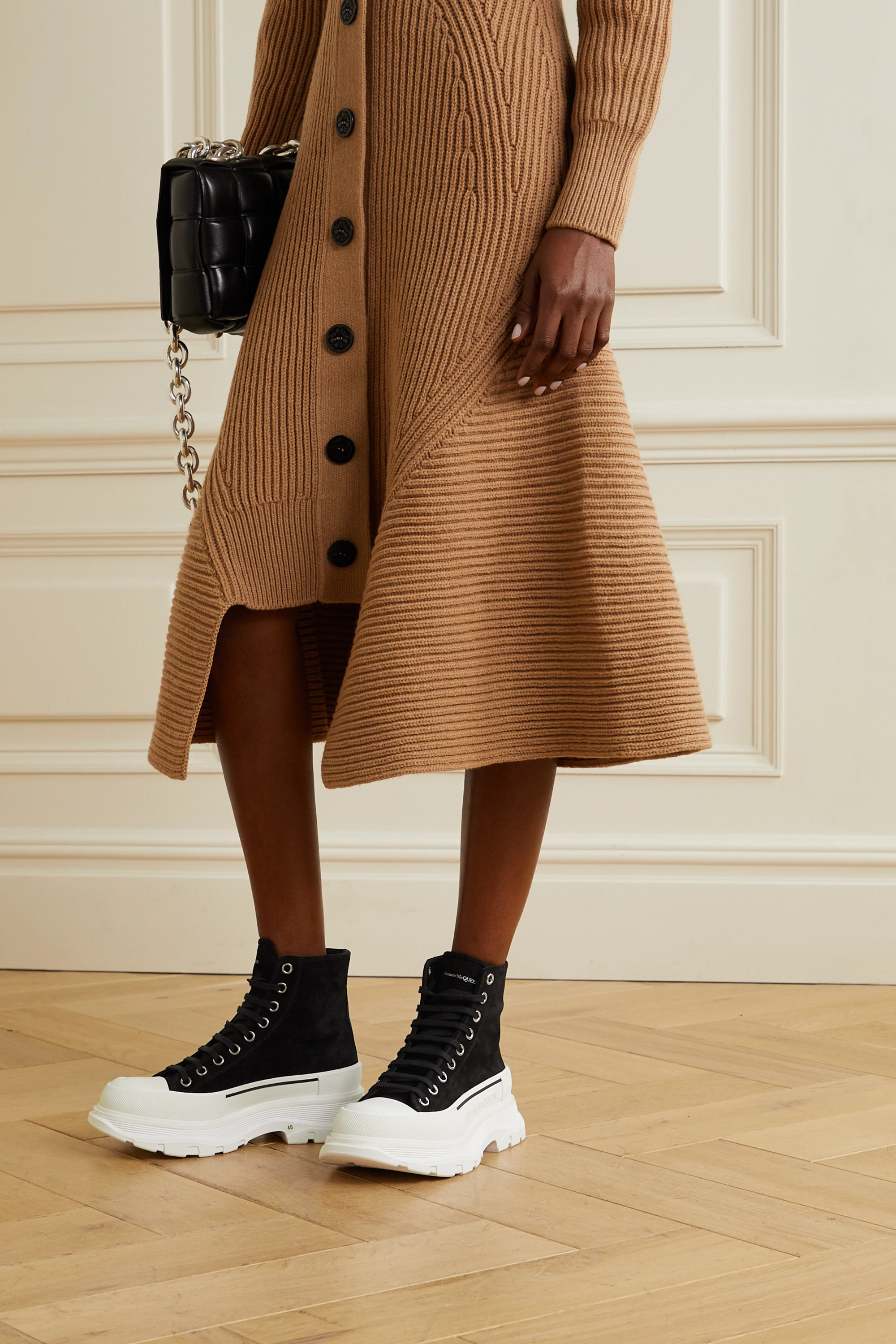 Alexander McQueen Suede and rubber exaggerated-sole ankle boots