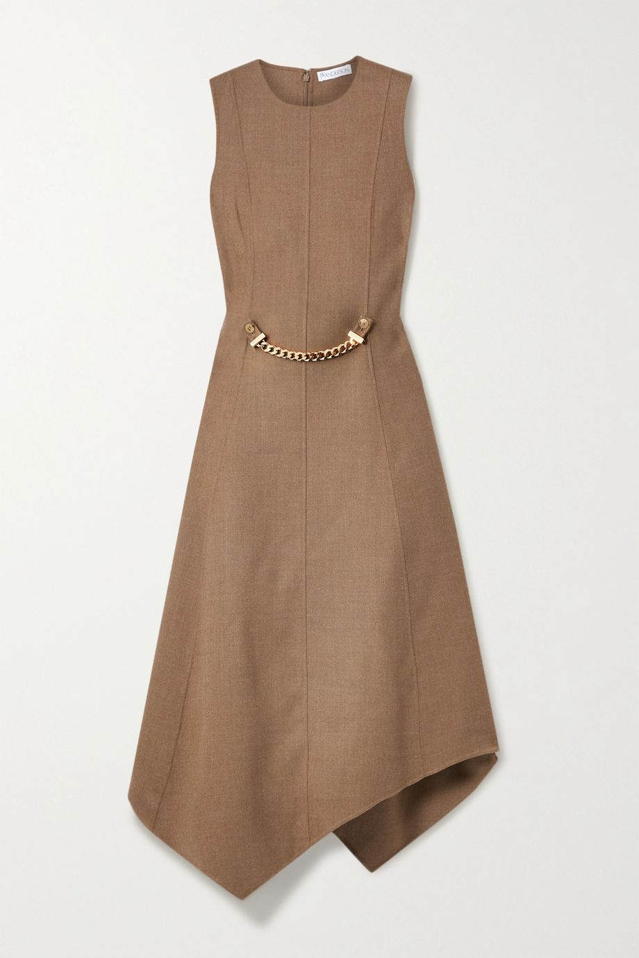 JW Anderson Asymmetric chain-embellished wool-blend drill dress