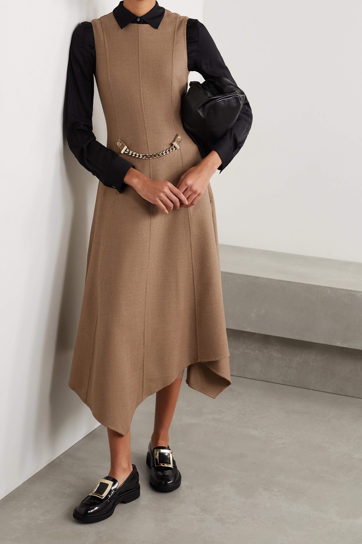 JW Anderson Asymmetric chain-embellished wool-blend drill dress