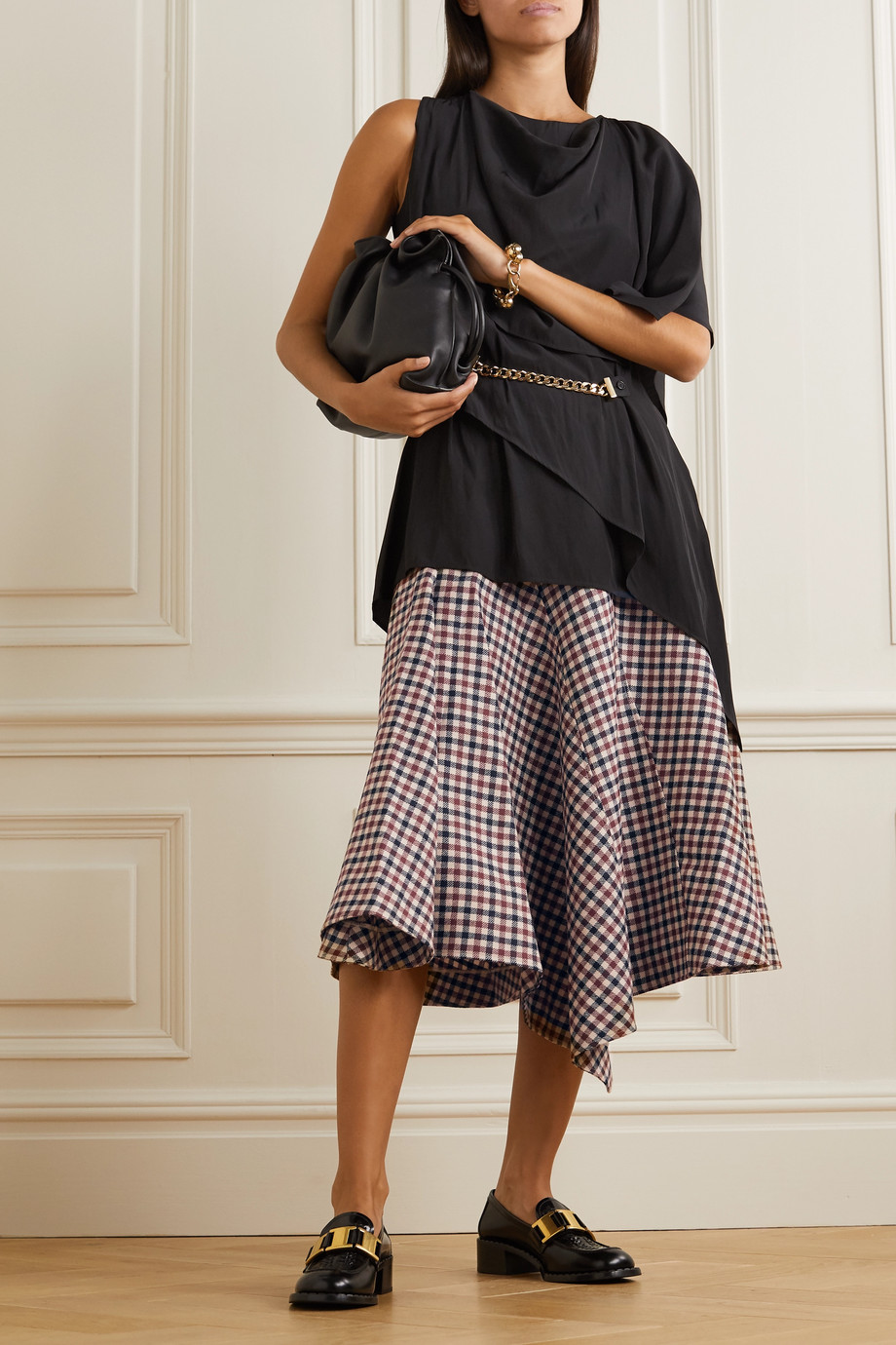 JW Anderson Asymmetric checked wool midi skirt