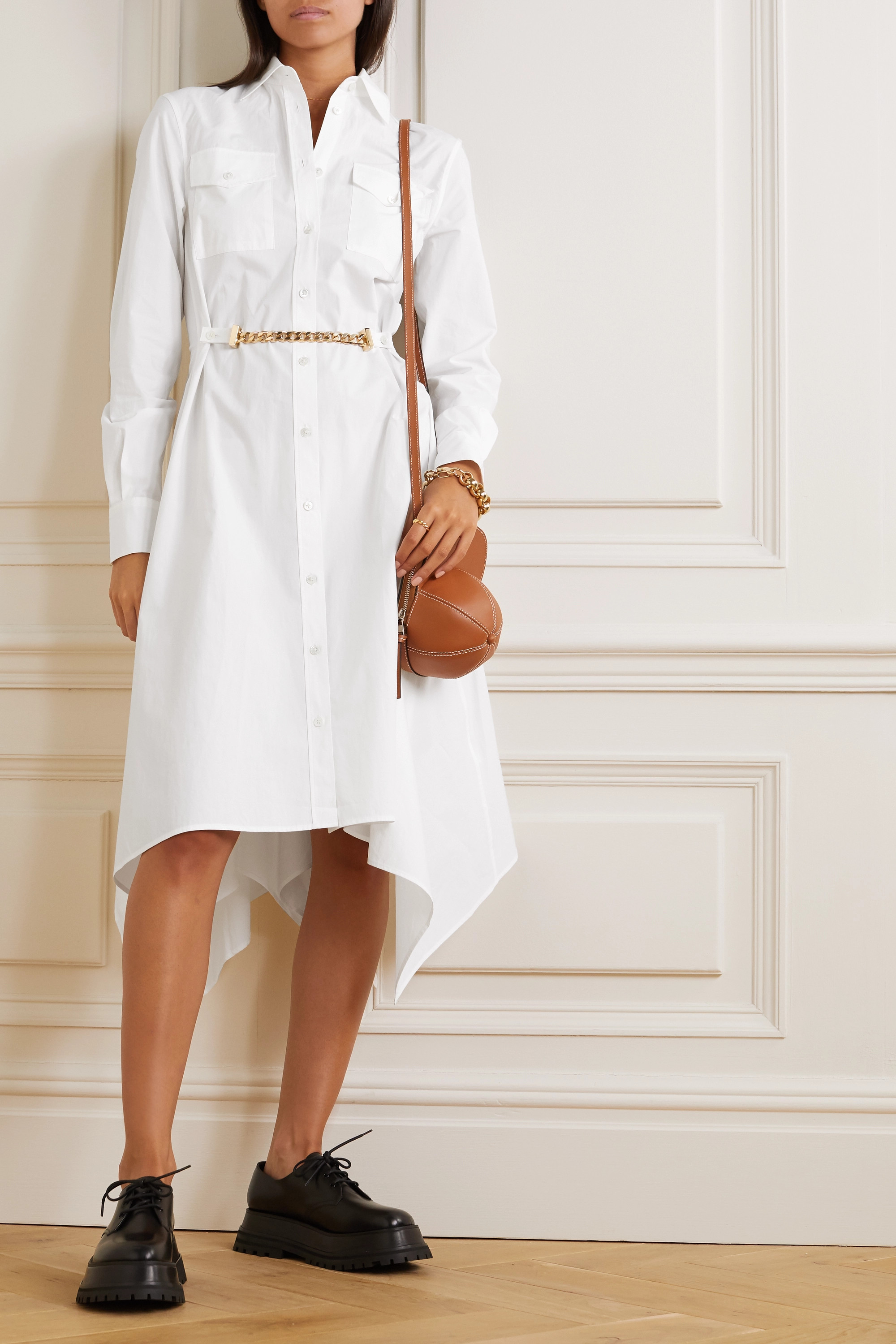 JW Anderson Asymmetric chain-embellished cotton-poplin shirt dress