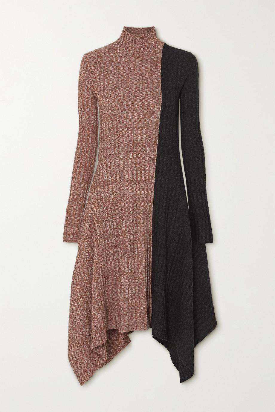 JW Anderson Asymmetric two-tone mélange merino wool turtleneck dress