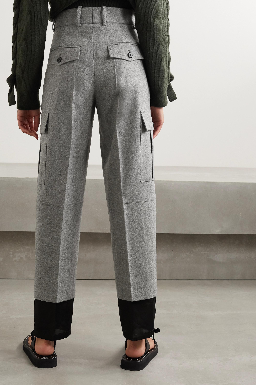 JW Anderson Mélange merino wool and cotton-twill straight-leg pants