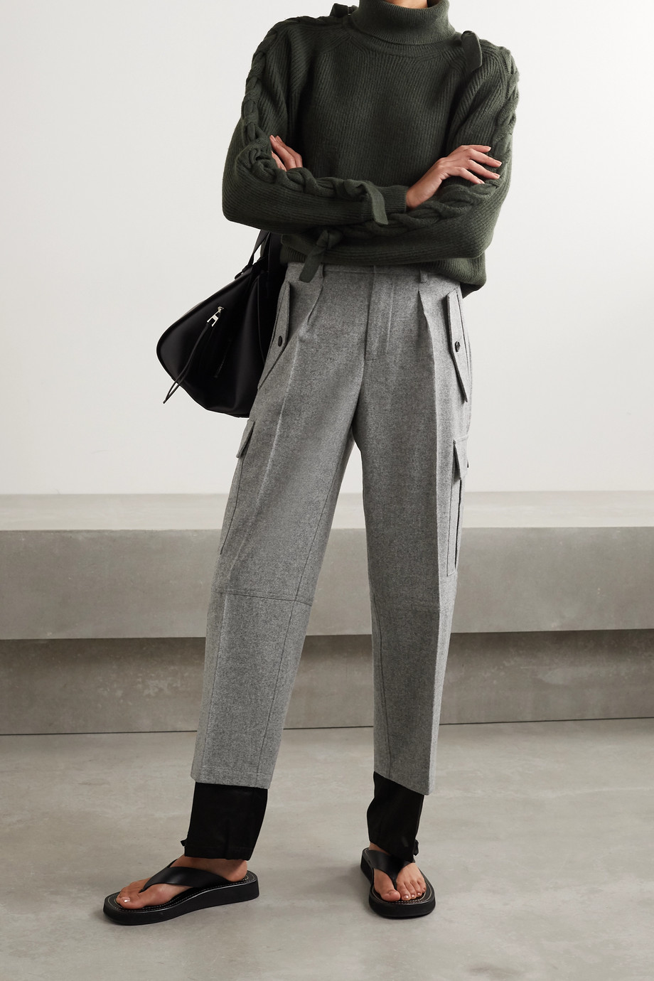 JW Anderson Mélange merino wool and cotton-twill straight-leg pants