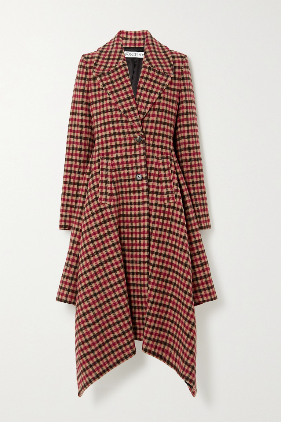 JW Anderson Asymmetric checked wool-blend coat