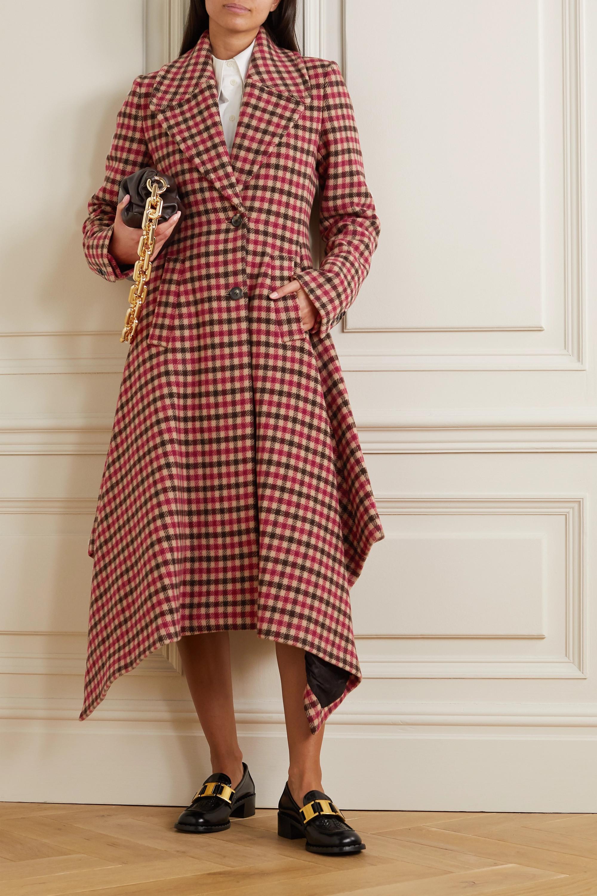 JW Anderson Asymmetric checked wool-blend coat