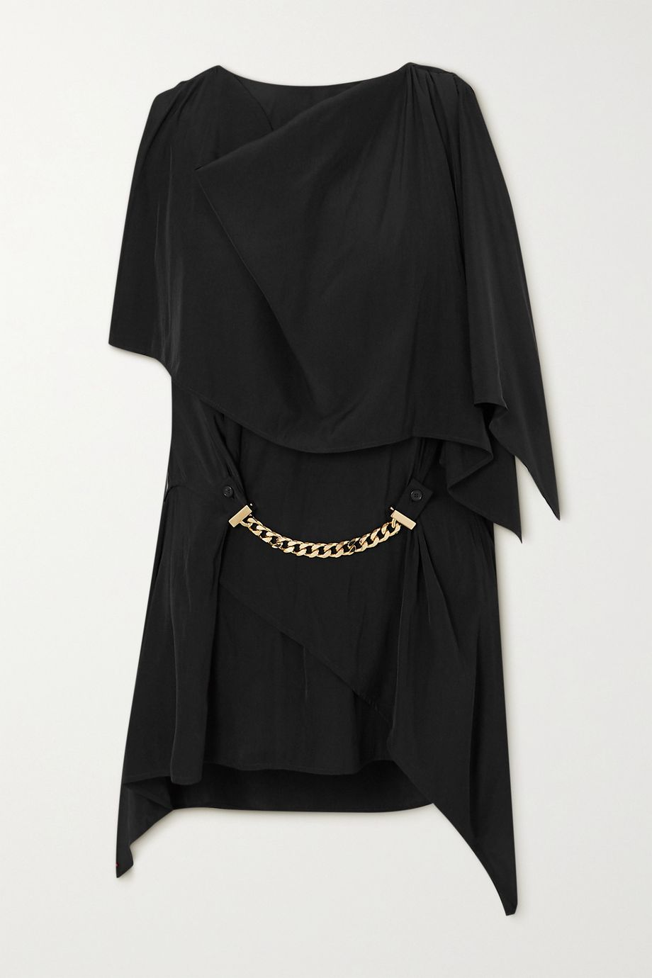 JW Anderson One-sleeve chain-embellished crepe top