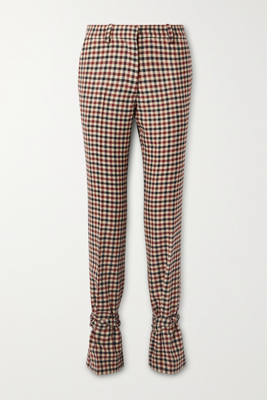 JW Anderson - Bow-embellished Checked Wool Straight-leg Pants