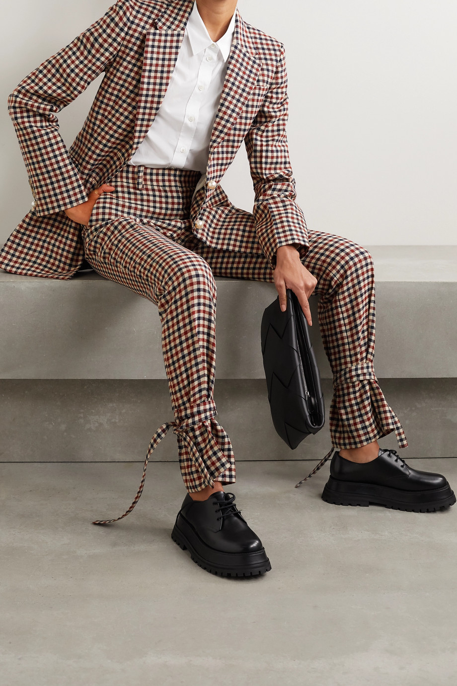JW Anderson Bow-embellished checked wool straight-leg pants
