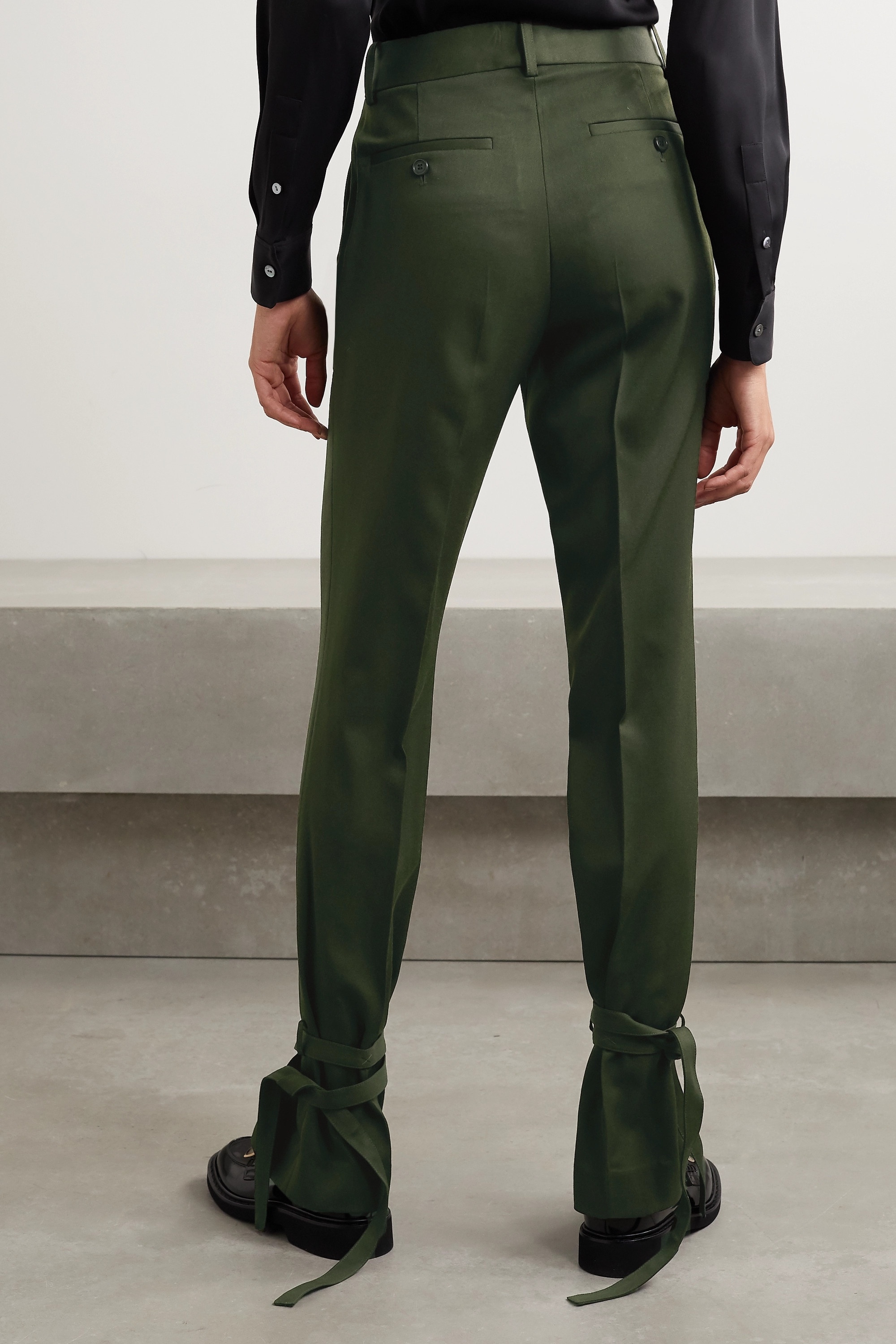 JW Anderson Bow-embellished wool straight-leg pants