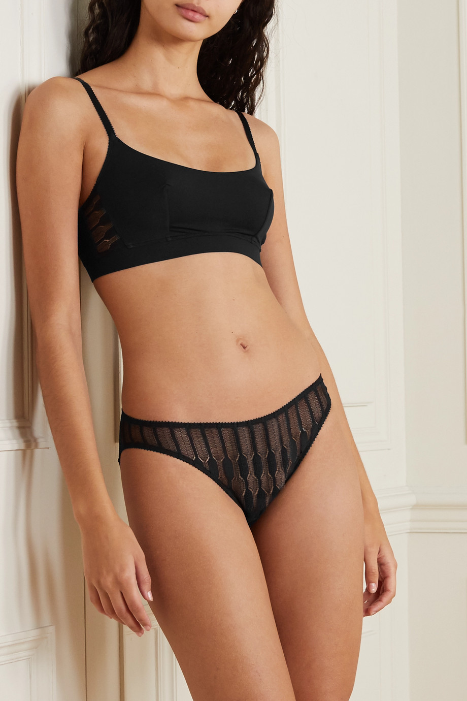 Eres Fresque Leavers lace-trimmed stretch-jersey soft-cup bra