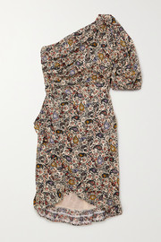 Isabel Marant Étoile Esthera one-sleeve wrap-effect paisley-print cotton mini dress