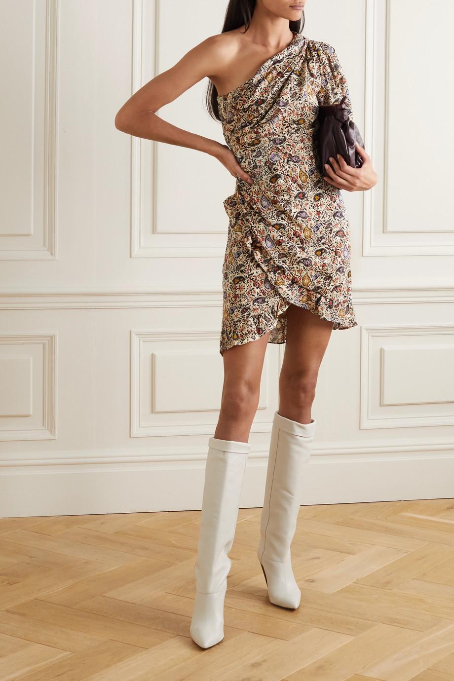 Isabel Marant Étoile Esthera Minikleid aus Baumwolle mit Paisley-Print, Wickeleffekt und asymmetrischer Schulterpartie