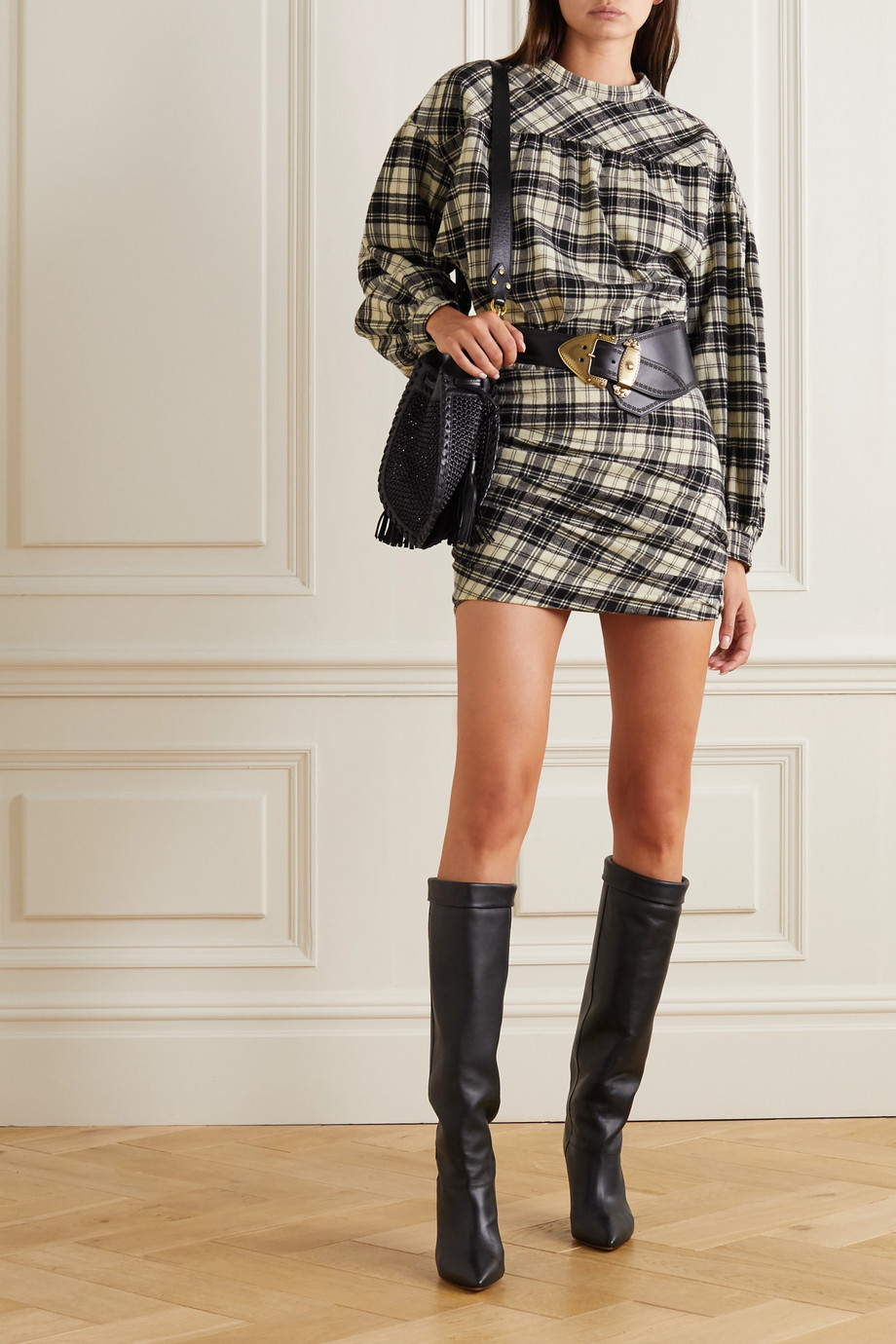 Isabel Marant Étoile Faber gathered checked flannel mini dress