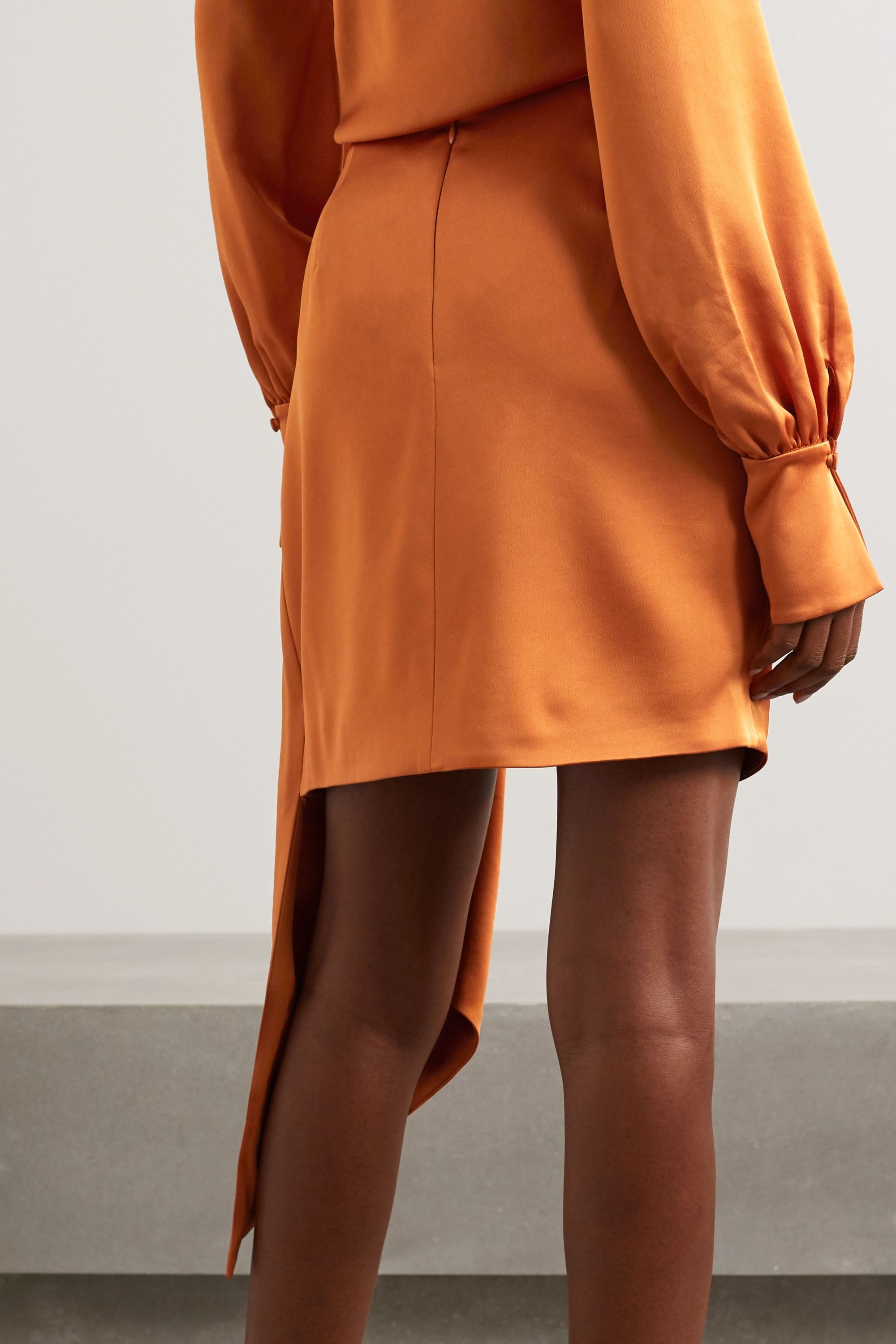 Jonathan Simkhai Mae asymmetric draped satin mini skirt