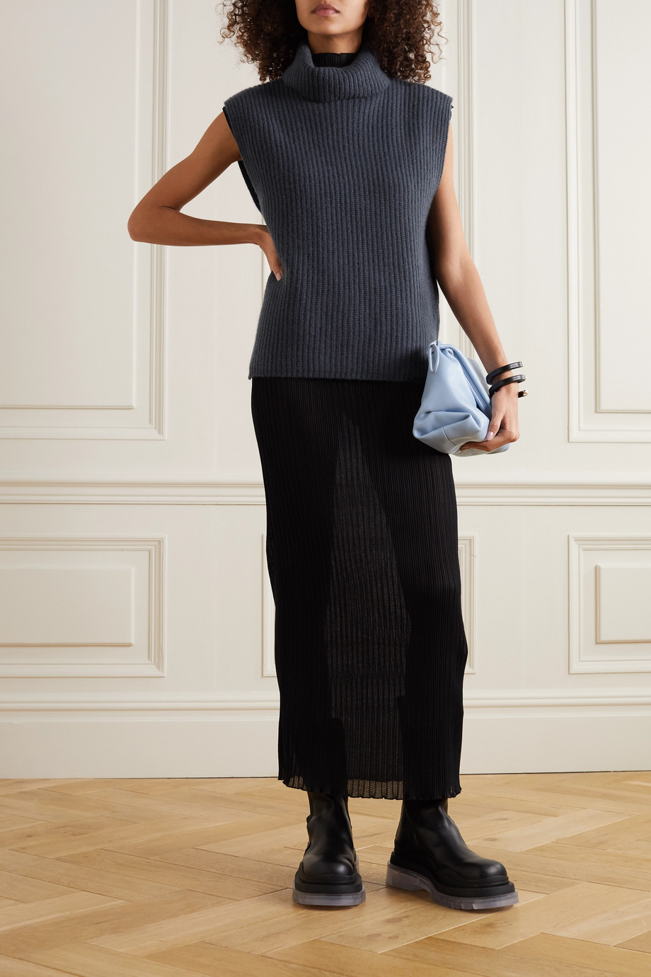 Arch4 Ribbed cashmere turtleneck sweater