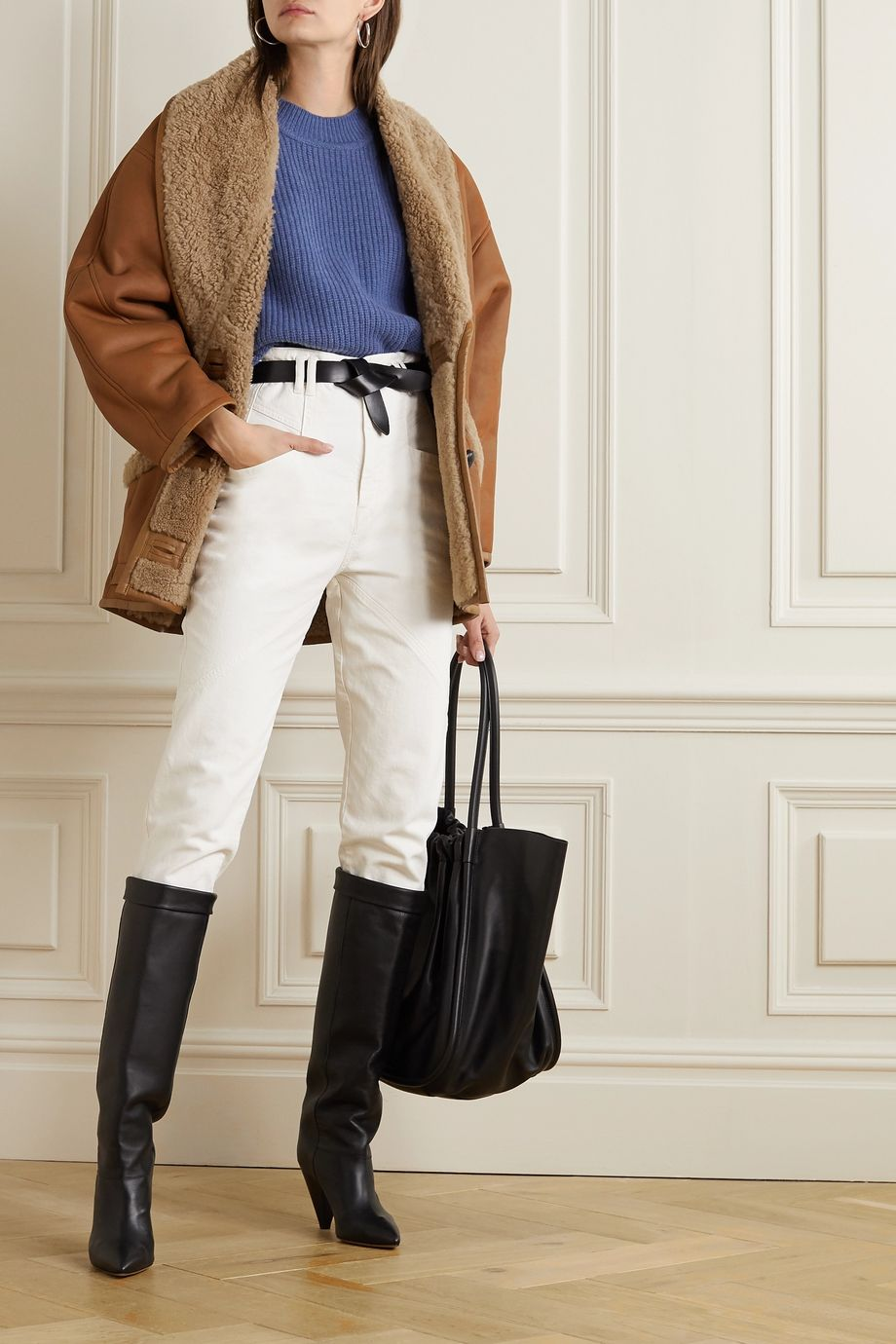 Isabel Marant Audrina shearling-trimmed leather jacket